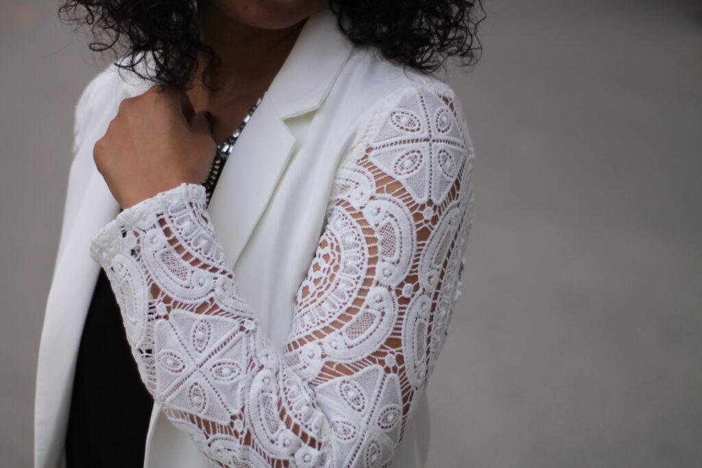 crochet sleeve blazer