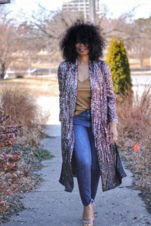 Rose Gold Anthro Kimono Duster